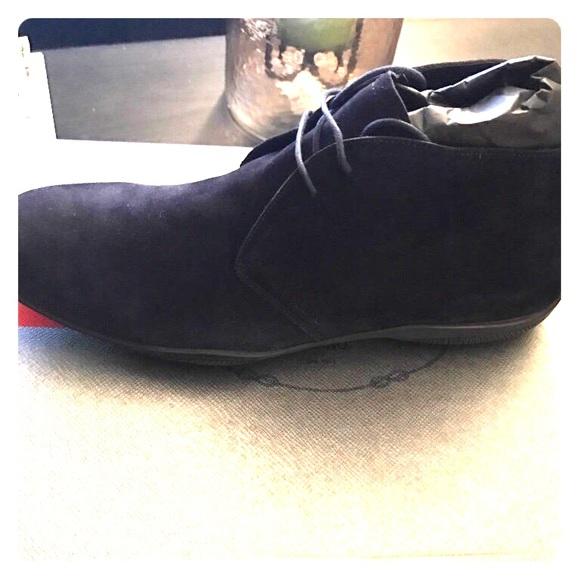 prada shoes navy blue suede parade boots poshmark